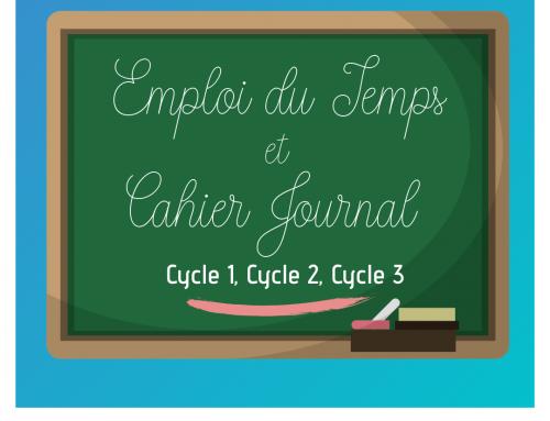 Animation pédagogique : Emploi du temps & Cahier journal Cycles 1,2,3